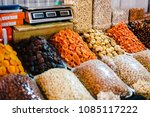 dry fruit mix on food market ... | Shutterstock . vector #1085117222