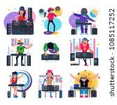 dj music vector discjockey... | Shutterstock .eps vector #1085117252