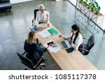high angle view of three... | Shutterstock . vector #1085117378