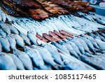 dried and smoked fish at the... | Shutterstock . vector #1085117465