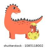 prehistoric creature  and egg... | Shutterstock .eps vector #1085118002