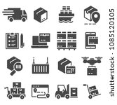 vector black delivery icons set ... | Shutterstock .eps vector #1085120105