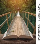way by the suspension bridge in ... | Shutterstock . vector #1085124242