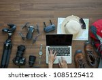 overhead view of traveler's... | Shutterstock . vector #1085125412