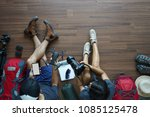 overhead view of traveler's... | Shutterstock . vector #1085125478