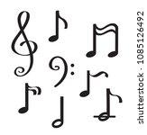 music notes sheet hand drawn...   Shutterstock .eps vector #1085126492