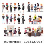 business people work in teams... | Shutterstock .eps vector #1085127035
