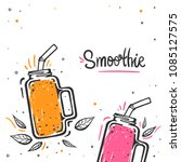 colorful set of smoothies.... | Shutterstock .eps vector #1085127575