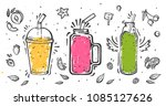 set of smoothies in different... | Shutterstock .eps vector #1085127626