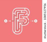 letter f shape maze labyrinth ...   Shutterstock .eps vector #1085127956