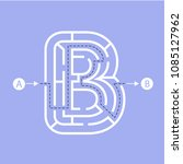 letter b shape maze labyrinth ... | Shutterstock .eps vector #1085127962