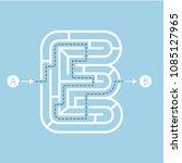letter e shape maze labyrinth ... | Shutterstock .eps vector #1085127965