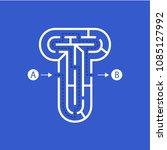letter t shape maze labyrinth ... | Shutterstock .eps vector #1085127992