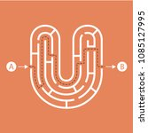 letter u shape maze labyrinth ... | Shutterstock .eps vector #1085127995