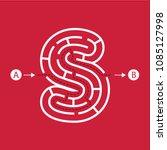 letter s shape maze labyrinth ... | Shutterstock .eps vector #1085127998