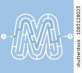 letter m shape maze labyrinth ... | Shutterstock .eps vector #1085128025