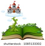story book with magic beanstalk ... | Shutterstock .eps vector #1085133302