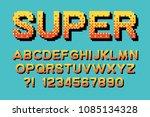 pixel retro font video computer ... | Shutterstock .eps vector #1085134328