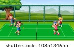 happy kids playing tennis at... | Shutterstock .eps vector #1085134655