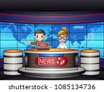 news anchor on television | Shutterstock .eps vector #1085134736