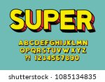 geometric super font 3d effect... | Shutterstock .eps vector #1085134835
