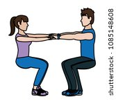 color fitness woman and man...   Shutterstock .eps vector #1085148608