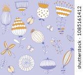 summer flowers pattern. floral... | Shutterstock .eps vector #1085161412