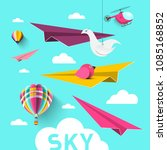 paper planes with hot air... | Shutterstock .eps vector #1085168852