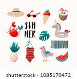 summer vacation vector vintage... | Shutterstock .eps vector #1085170472