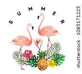 tropical garden watercolor... | Shutterstock .eps vector #1085171225