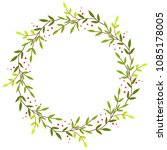 cute decorative wreath with... | Shutterstock .eps vector #1085178005