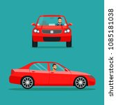red sedan car two angle set.... | Shutterstock .eps vector #1085181038