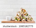 healthy lunch snack. stack of... | Shutterstock . vector #1085182775