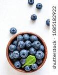 organic blueberries in bowl... | Shutterstock . vector #1085182922