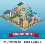 vector isometric low poly city... | Shutterstock .eps vector #1085183876