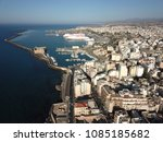 drone aerial view on heraklion  ... | Shutterstock . vector #1085185682