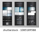 roll up banner stands  abstract ...   Shutterstock .eps vector #1085189588
