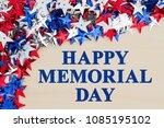 happy memorial day text with...   Shutterstock . vector #1085195102