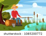 young man fishing on lake. guy... | Shutterstock .eps vector #1085200772