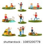 summer outdoor activities. kid... | Shutterstock .eps vector #1085200778
