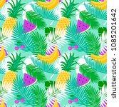 tropical fruit seamless pattern ... | Shutterstock .eps vector #1085201642