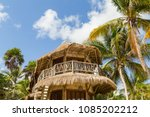 eco hotel. a hut on the beach....   Shutterstock . vector #1085202212