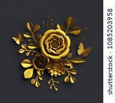 3d Render  Gold Paper Flowers ...