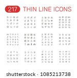 set of thin line icons... | Shutterstock .eps vector #1085213738