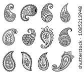 set of mehndi flower pattern... | Shutterstock .eps vector #1085213948