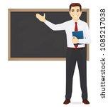 male teacher at blackboard with ... | Shutterstock .eps vector #1085217038