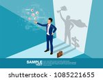 isometric the winner. concept... | Shutterstock .eps vector #1085221655