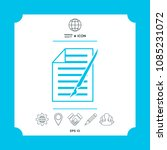 sheet of paper and pen icon | Shutterstock .eps vector #1085231072