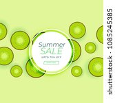 summer sale banner with kiwi... | Shutterstock .eps vector #1085245385