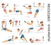 fitness trx exercises vector... | Shutterstock .eps vector #1085252186